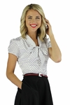 """Satin Bow"" Modest Blouse in Polka Dot"
