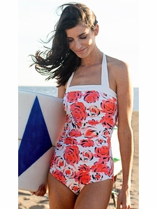 """Seaside Picnic"" One-Piece Modest Swimsuit in Floral Print"