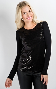 Shimmer Down Modest Top in Black