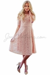 """Sloan"" Modest Dress in Blush Pink Lace"