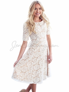 """Sloan"" Modest Dress in White Lace w/Nude Lining"