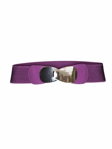 Spandex Belt in Purple w/Solid Gold Buckle