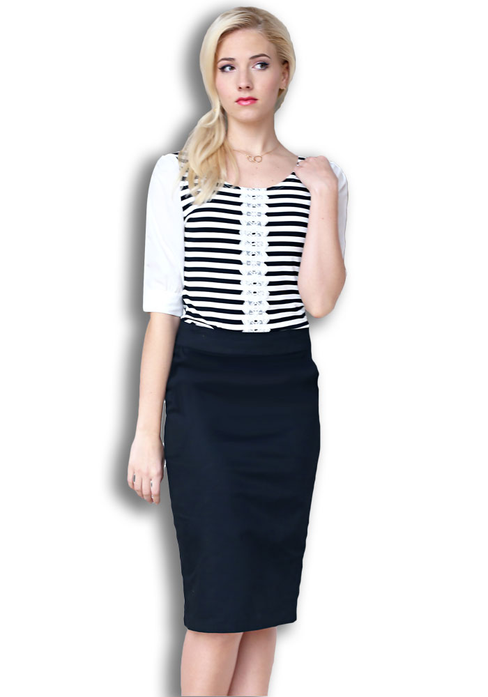 Modest Tops: Striped w/Lace in Black & White Stripes