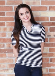 """Striped V Neck"" Modest Top in Navy"