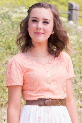 Lace Modest Top in Juicy Peach