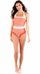 """""""Summertime"""" One-Piece Modest Swimsuit in Coral Stripe"""