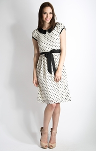 Sunday Best Modest Dress in Egret w/Black Dot