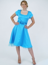 """Tea Party"" Modest Prom Dress in Turquoise"