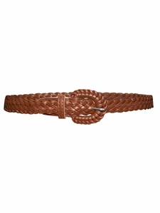 Thin Braided Belt in Cognac Brown