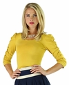 """Thin Satin Collar"" Modest Top in Mustard Yellow"