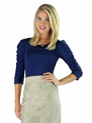 """Thin Satin Collar"" Modest Top in Navy Blue"