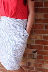 """Triangle"" Modest Pencil Skirt in Blue Triangle Print"