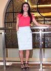 """""""Triangle"""" Modest Pencil Skirt in Blue Triangle Print"""