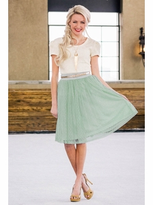 Tulle Modest Skirt in Pistachio w/Dots