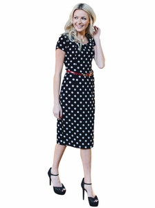 """Vivian"" Modest Dress in Black w/White Polka Dots"