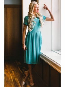Winslow Modest Dress in Sea Green