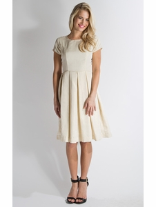Winter Frolic Modest Dress in Egret/Gold