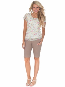 Women's Modest Bermuda Career Shorts, Rose Beige
