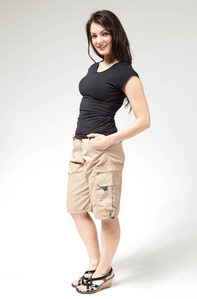 Women's Modest Nylon Cargo Shorts in Khaki