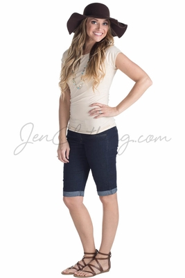 Women's Modest Stretch-Denim Bermuda Shorts in Dark Blue *RESTOCKED*