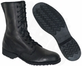 G.I. Black Leather Combat Boots with Chevron Sole