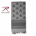 Rothco Shemagh Desert Tactical Scarf - Grey w/ Skulls