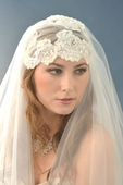 Beaded Alencon Lace Cap Veil