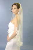 Beaded Flower Lace Edge Veil