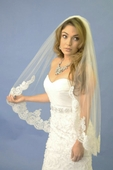 Detailed Scallop Lace Edge Veil