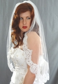 French Alencon Lace Edge Veil