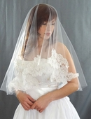Large Applique Lace Veil
