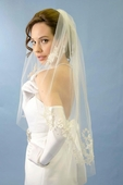 Leafy Scroll Embroidered Lace Veil