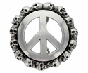 100211 Peace Sign Skull Belt Buckle Made In Italy Belt Buckle