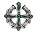 100328 Fern Green Rhinestone Cross Celtic Belt Buckle Made In Italy
