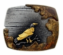 100574 Vintage Antique Black Gold Crow Engraved 3D Buckle Made In Italy