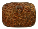 100578 Old Copper Skull Punk Belt Buckle Made In Italy