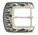 71500-04 Burning Flames surrounded by Motorcycle Chain Biker Belt Buckle