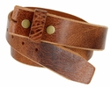 "BS304 Genuine Full Grain Vintage Leather Belt Strap 1-1/2"" Wide Tan"