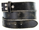 "BS56 Black Distressed Leather Belt Strap 1 1/2"" Wide"
