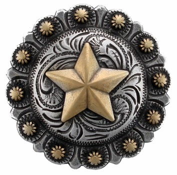 "BS9264-3 SRTPGP 1 1/2"" Berry Texas Star Cowboy Concho"