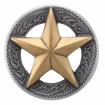"""BS9951-4 SRTP/GP 1 1/2"""" ANTIQUE SILVER FINISH WITH GOLD STAR RAISED STAR ENGRAVED"""