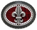 C1586 Oval Rhinestone Fleur De Lis with Leather Top Belt Buckle