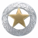 "F9704 SPGP 1 1/8"" Ranger Star CONCHOS Bright Silver And Gold"