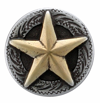 "F9951-1 SRTPGP 5/8"" STERLING SILVER FINISH RAISED STAR ENGRAVED CONCHO"