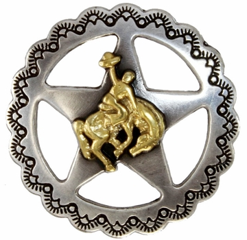 "FA4835-3 ASAG Star Bronco Rider Concho 1 1/4"" Antique Silver and Gold"