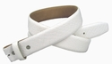 "Genuine Italian Calf Skin Crocodile Embossed Strap 1 1/2"" White"