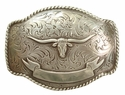 H0435 LASRP Longhorn Steer Trophy Ribbon Design Antique Silver