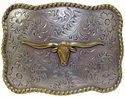 H8143 ASAG Longhorn Steer Trophy Western Belt Buckle Silver and Gold