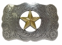 H8459 ASAG Texas Ranger Gold Star Western Belt Buckle