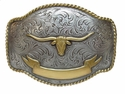 HA0435 ASAG Longhorn Steer Western Trophy Belt Buckle